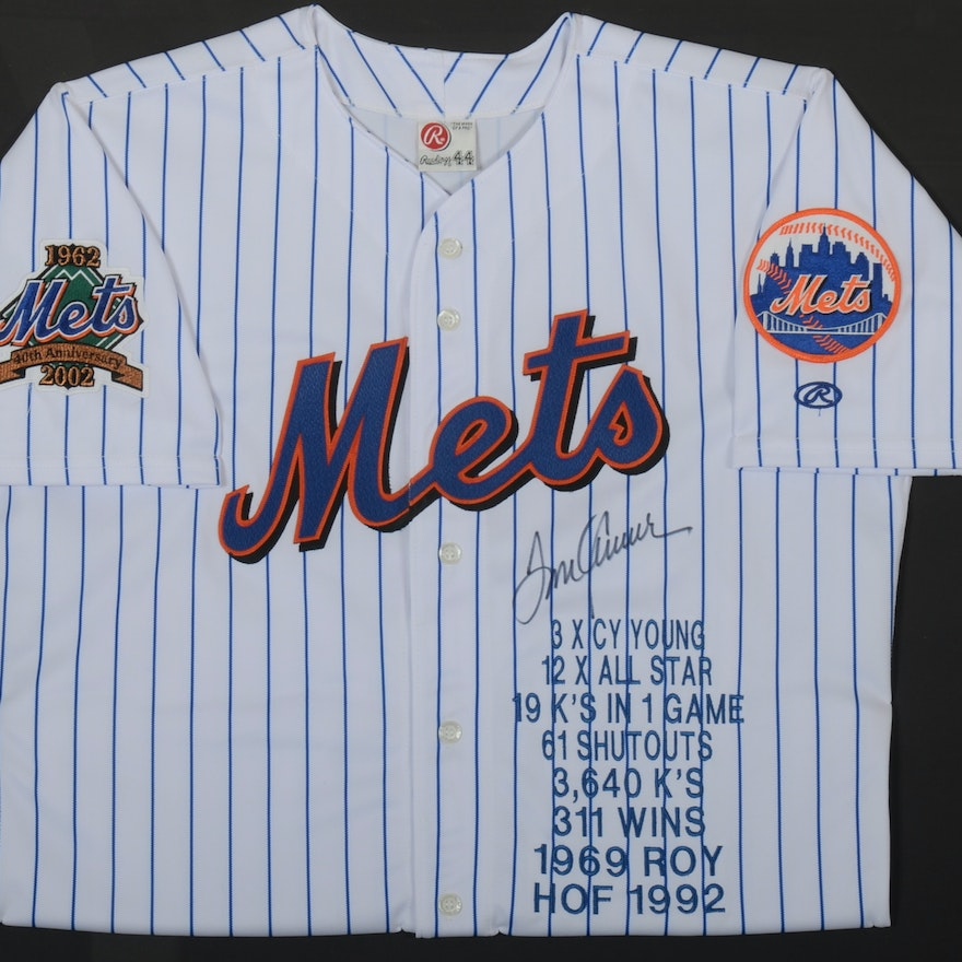 low priced c9b66 5fdbb Exceptional (HOF) Tom Seaver New York Mets Autographed Framed Baseball  Jersey