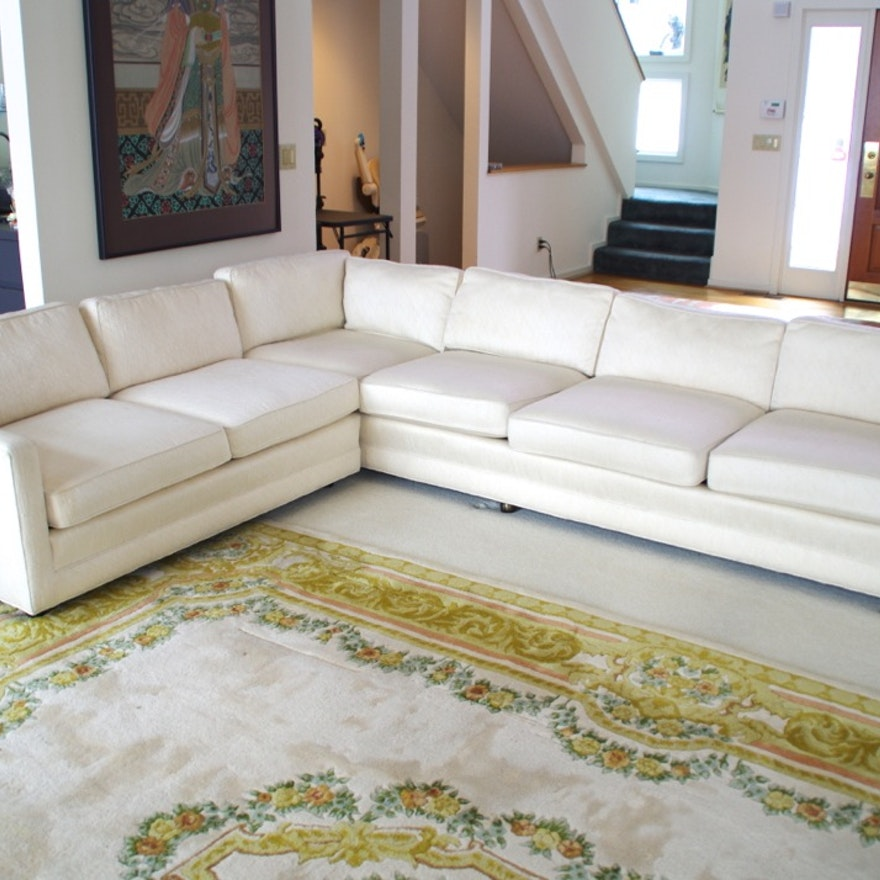 Henredon Sectional Sofa In Creamy White Upholstery Ebth