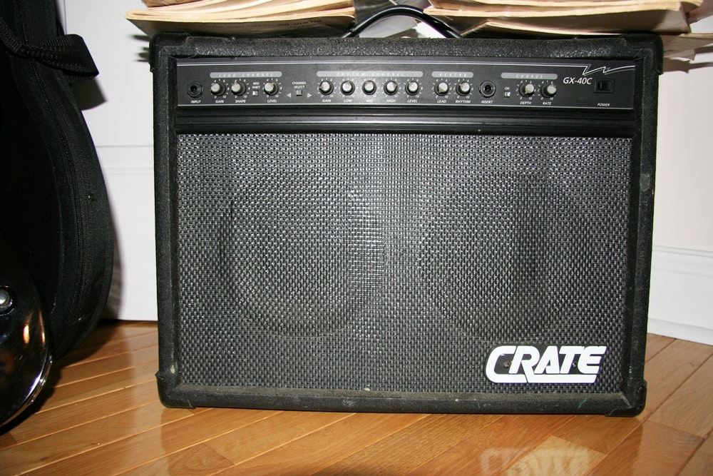crate amp and schecter electric guitar ebth. Black Bedroom Furniture Sets. Home Design Ideas