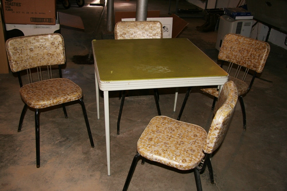Retro Folding Card Table and Chairs EBTH