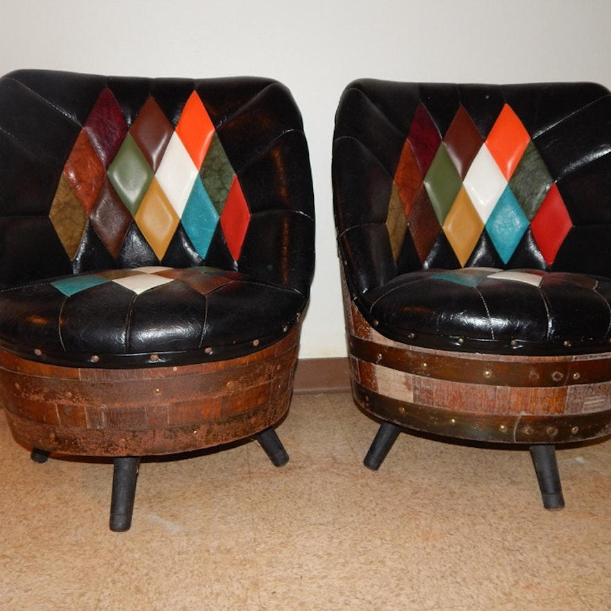 Pair Of Whiskey Barrel And Leather Look Chairs Ebth