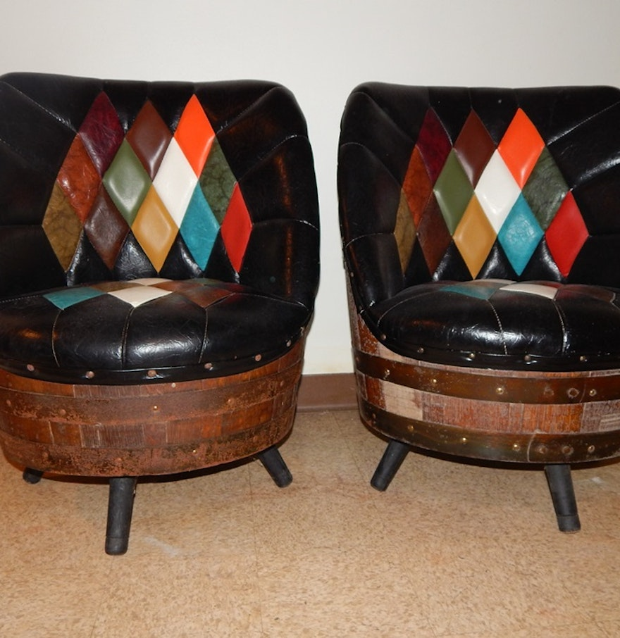 pair of whiskey barrel and leather look chairs ebth. Black Bedroom Furniture Sets. Home Design Ideas