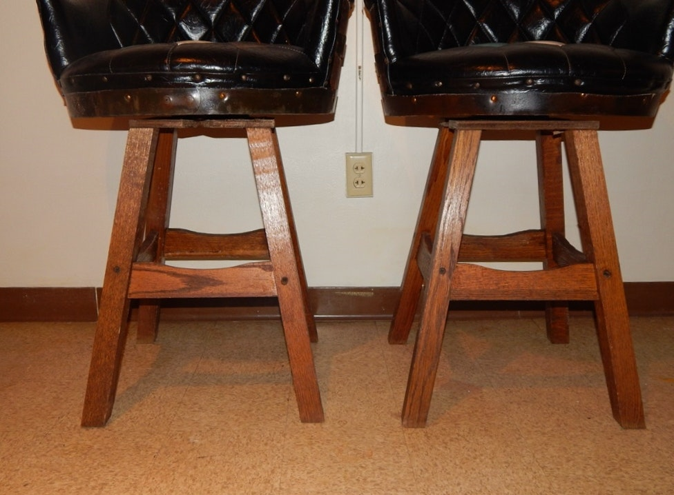 A Pair Of Whiskey Barrel Bar Stools Ebth