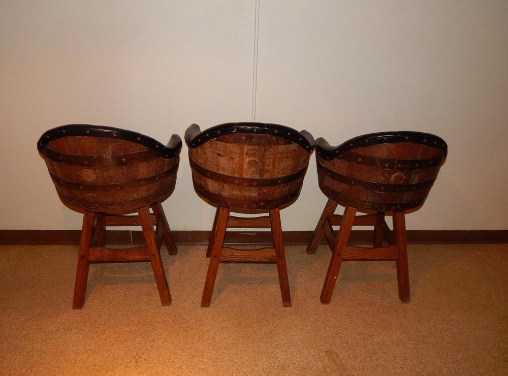 Trio Of Whiskey Barrel Bar Stools Ebth