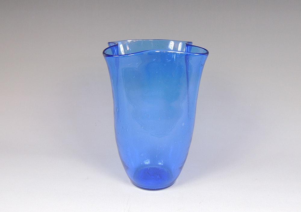 Blenko Glass Ruffled Handkerchief Vase : EBTH Ruffled Glass Vase