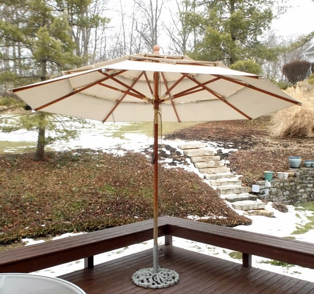 Giant Canvas Patio Umbrella And Metal Stand ...
