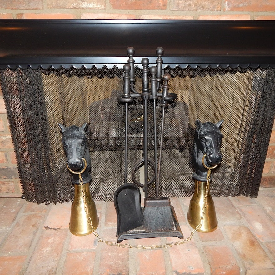 Stupendous Hitching Post Cast Iron Horse Heads And Fireplace Tools Download Free Architecture Designs Grimeyleaguecom