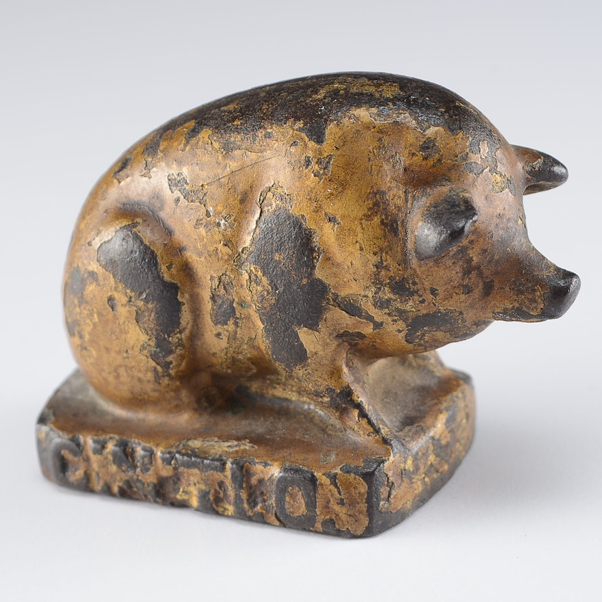 Small Antique Cast Iron Pig Paperweight