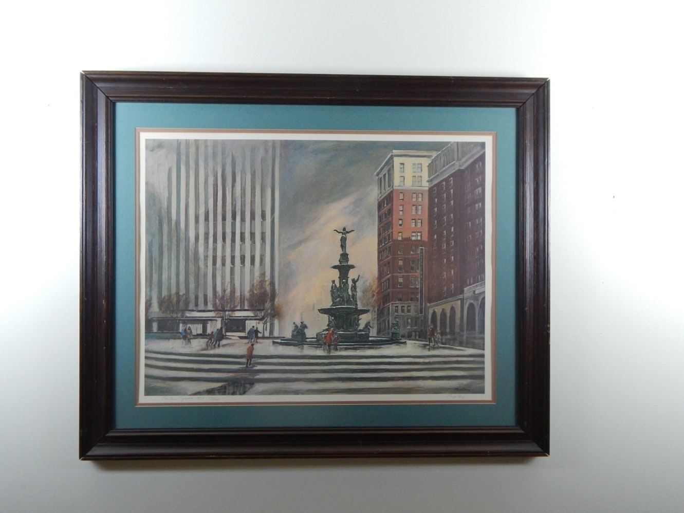"""Lakeside Auto Sales >> Signed and Framed """"Fountain Square"""" Print by Floyd Berg 