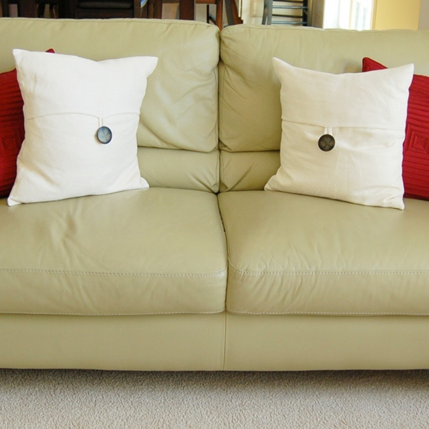 Almafi Light Green Leather Couch