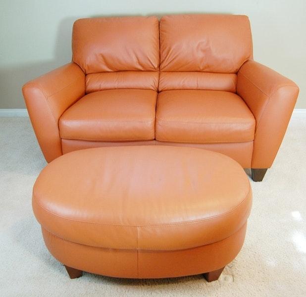 Almafi Pumpkin Leather Love Seat And Ottoman ...