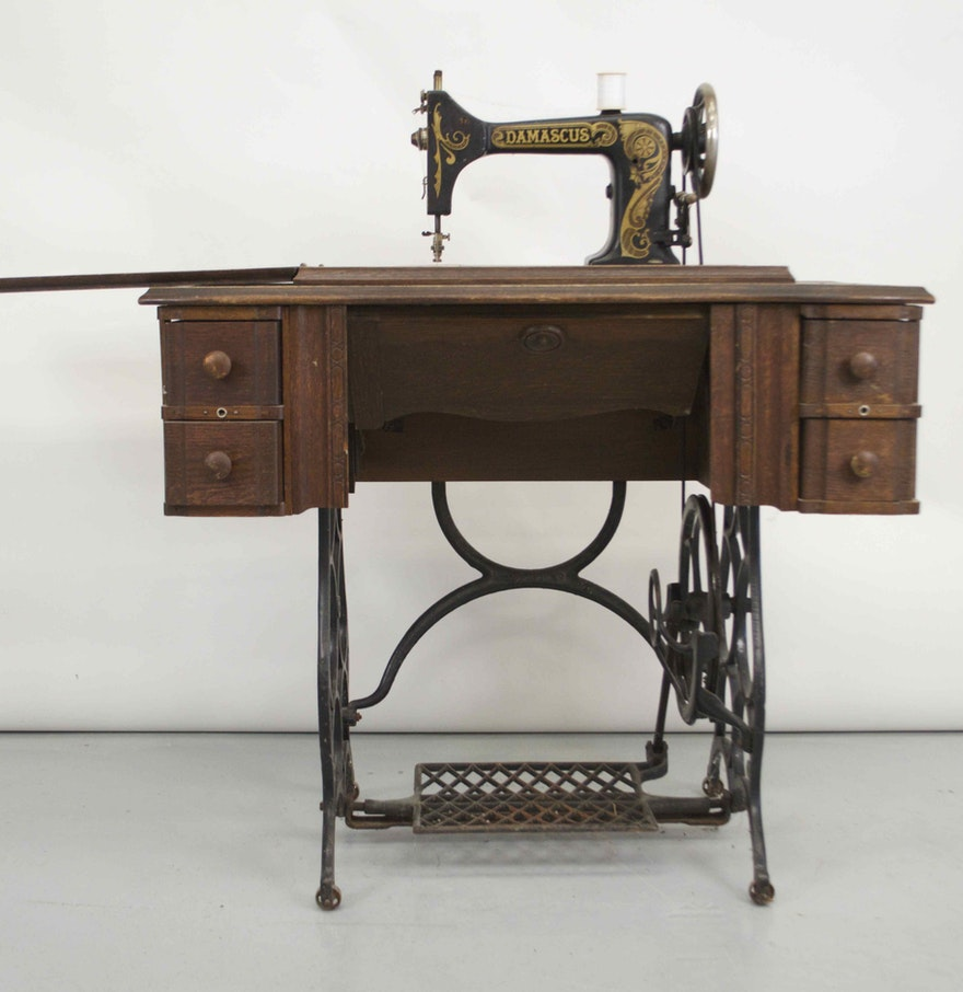 Treadle Sewing Machine Cabinet Antique Damascus Sewing Machine Table Ebth