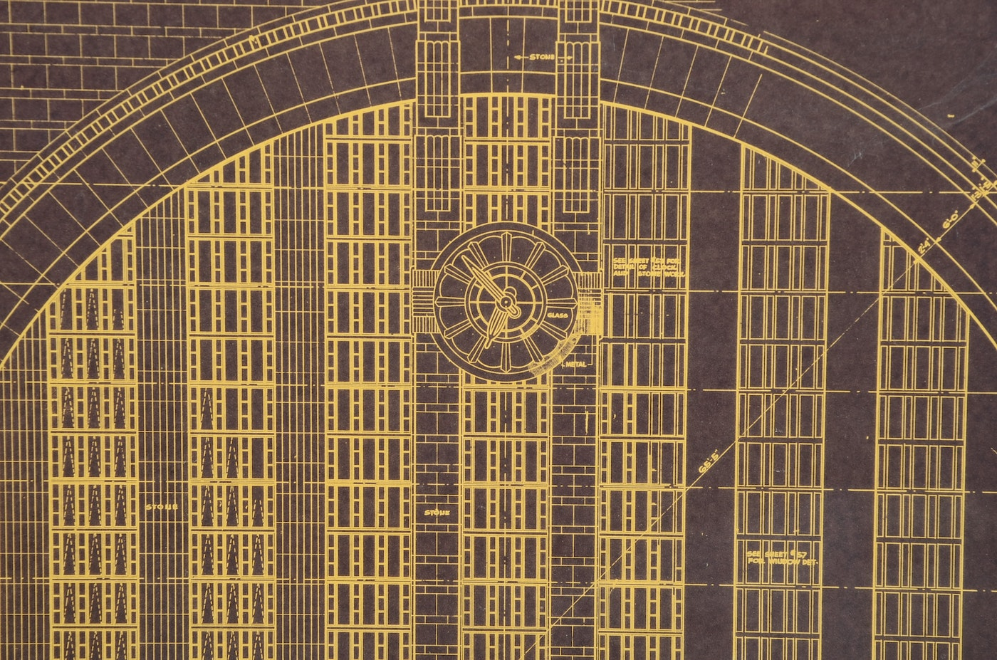 Print of 1931 architectural drawings of union terminal for Printing architectural drawings