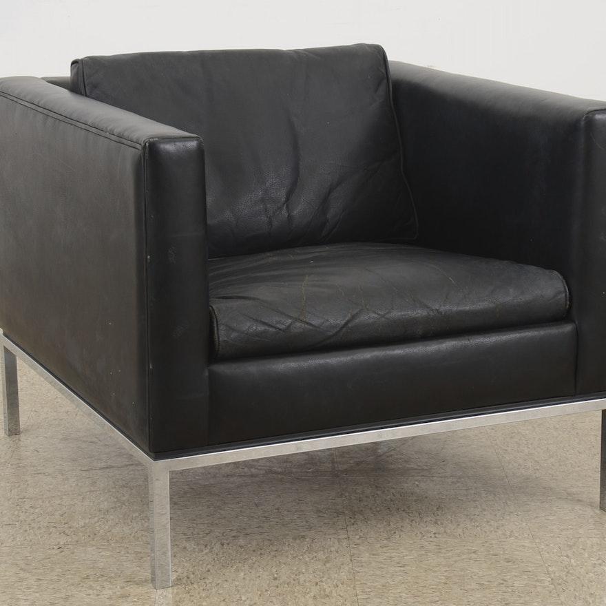 Astounding Globe Office Equipment Black Leather Cube Chair Creativecarmelina Interior Chair Design Creativecarmelinacom