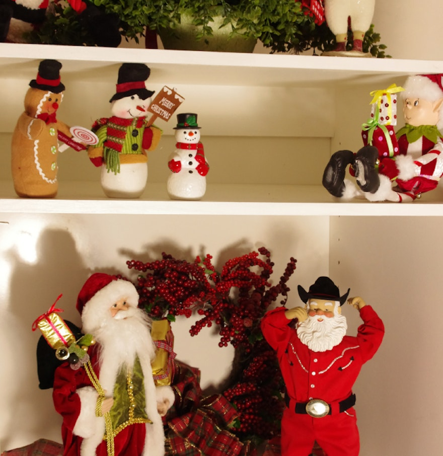 Great shelf lot of holiday and christmas decorations ebth