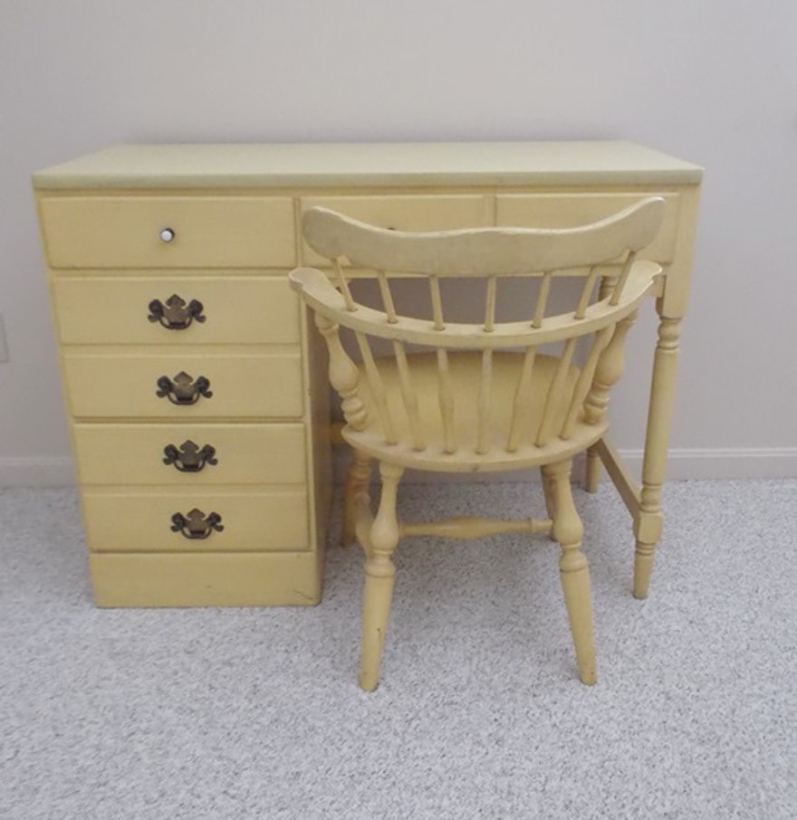 Ethan Allen Yellow Daffodil Heirloom Desk And Chair EBTH