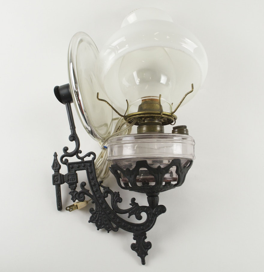 Wall Mounted Kerosene Lanterns : Wall-Mounted Oil Lantern Converted to Electric : EBTH