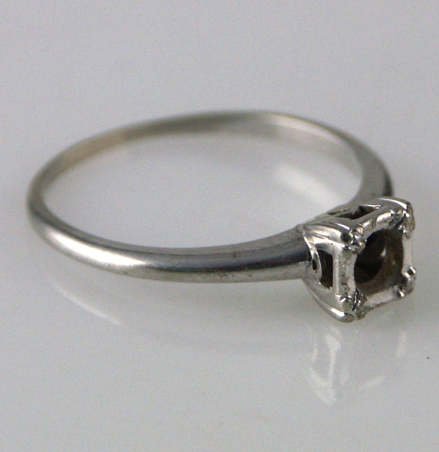 Engagement Rings No Stone: 14K WG Engagement Ring Setting (NO STONE) : EBTH
