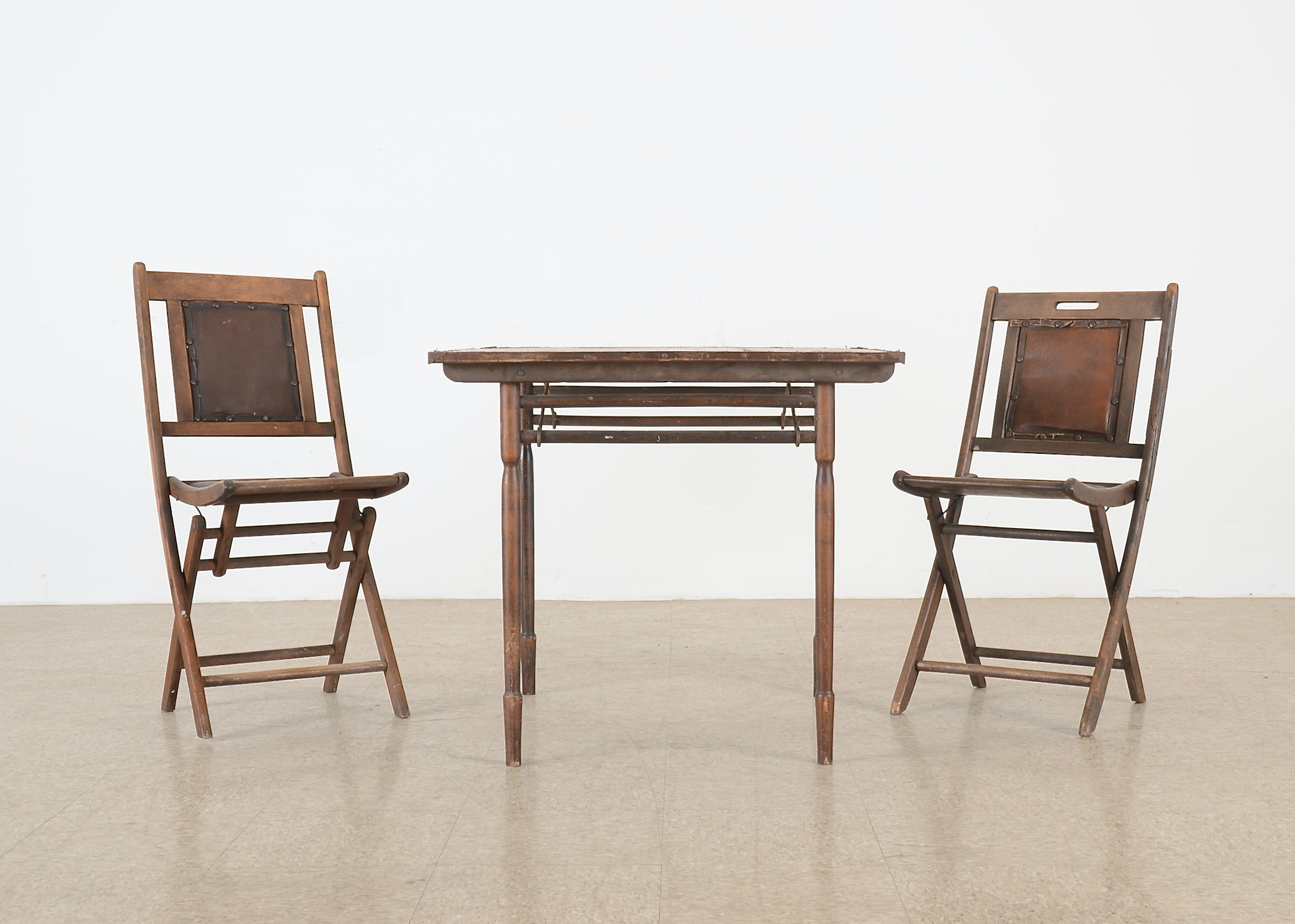 Circa 1930s Wooden Card Table And Two Wooden Folding