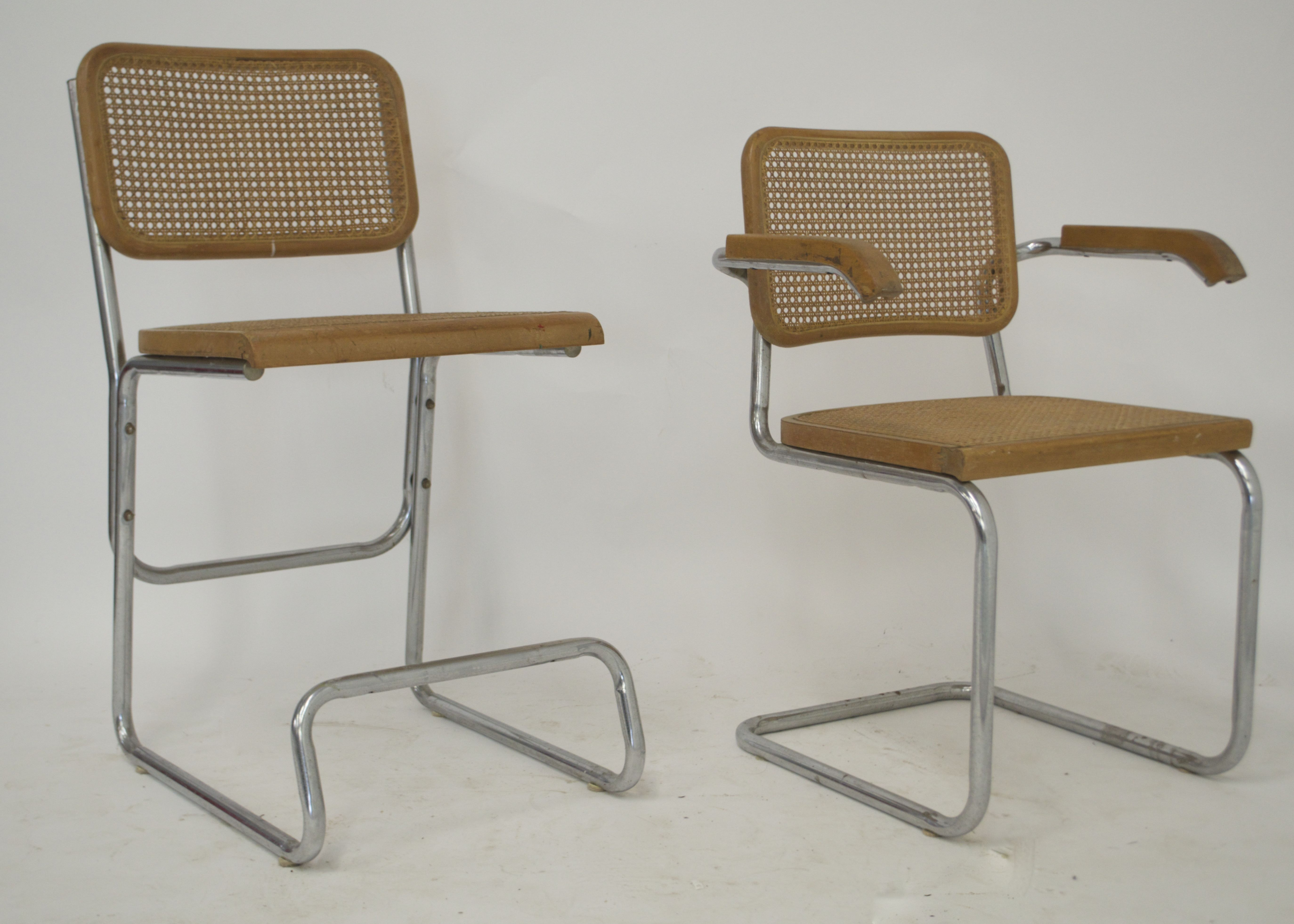Four Vintage Cesca Inspired Steel Chairs With Caned Seats
