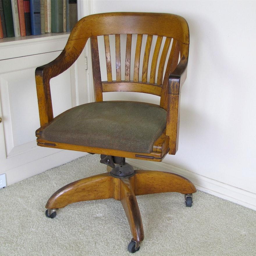 Mid Century Solid Oak Desk Chair
