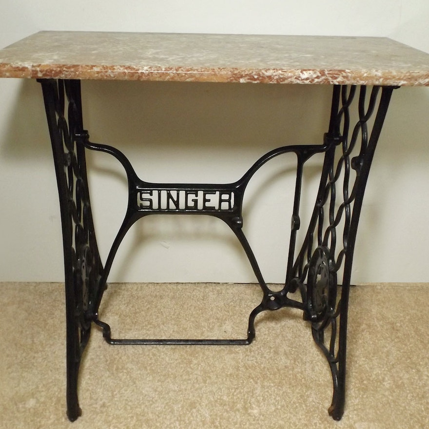 Vintage Singer Sewing Machine Base With Marble Top EBTH Unique Sewing Machine Stands