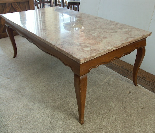 French Marble Top Coffee Table C 1930: French Provincial Marble Top Coffee Table : EBTH