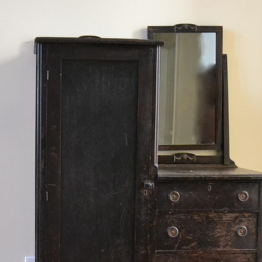 antique chifferobe with mirror Vintage Chifferobe Armoire with Mirror : EBTH antique chifferobe with mirror