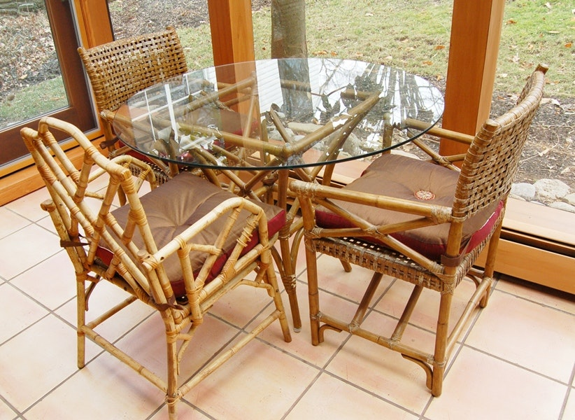 Rattan Glass Table And Three Cane /Woven Chairs ...