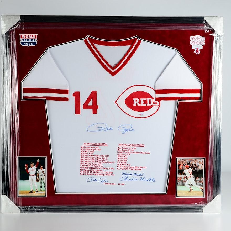 Incredible Pete Rose Reds Signed Framed Baseball Jersey