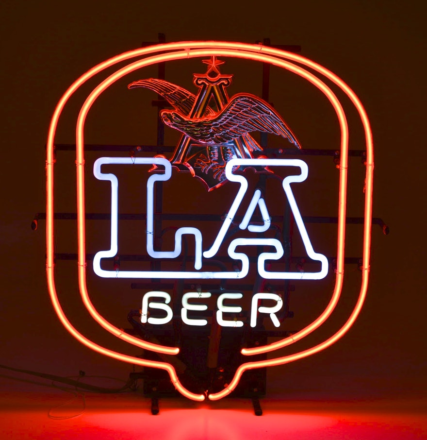 Vintage Anheuser Busch LA Neon Bar Light : EBTH