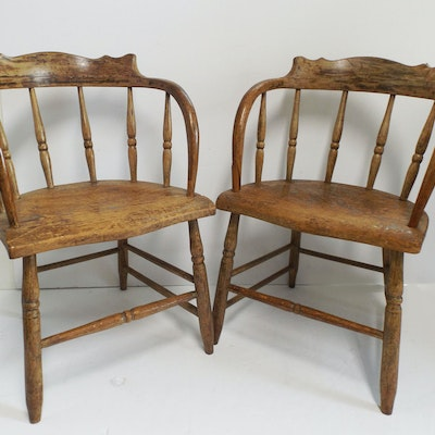 Fabulous Pair of Early Captain's Chairs from Indian Hill Estate - Vintage Chairs, Antique Chairs And Retro Chairs Auction In