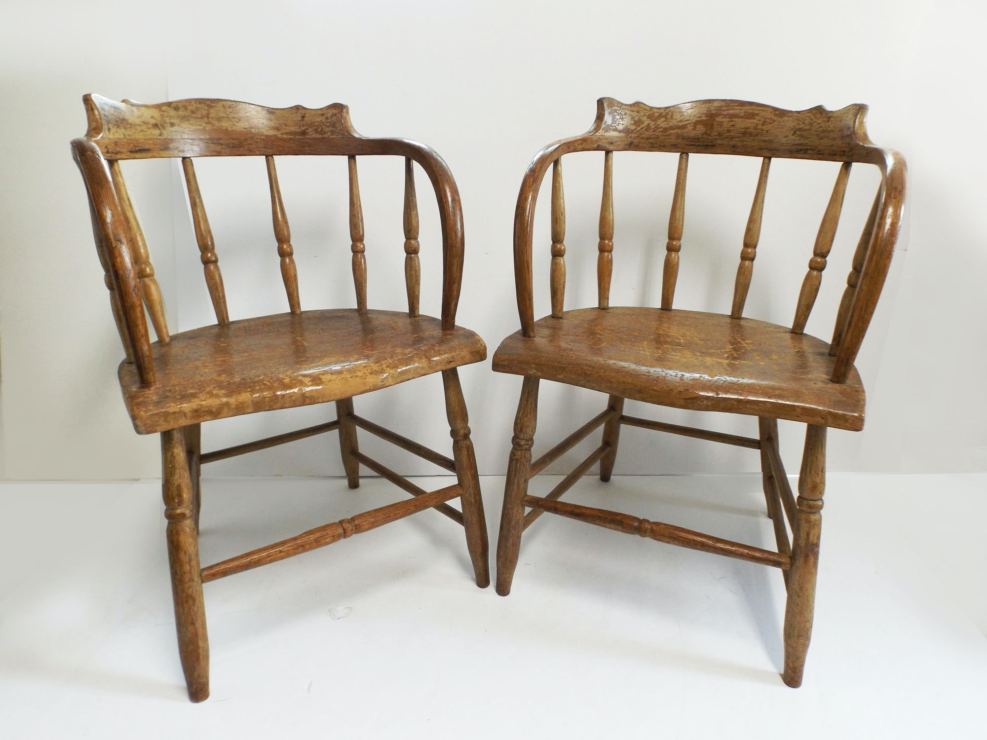 A Fabulous Pair Of Early Captainu0027s Chairs From Indian Hill Estate
