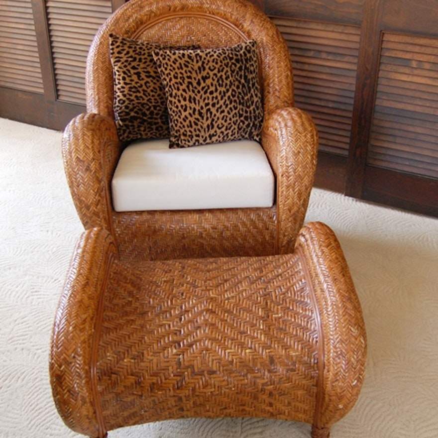 Pottery Barn Rattan Chair And Ottoman Ebth