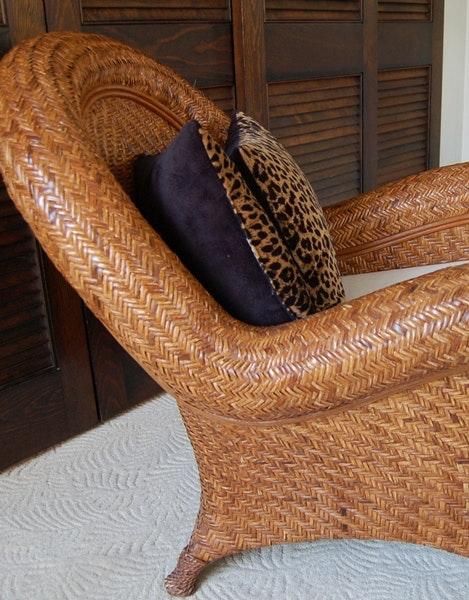 Pottery Barn Rattan Chair And Ottoman Ebth