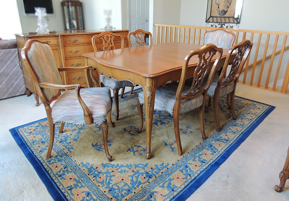 Maple Kitchen Table With Chair And Bench Ebth: Weiman French Provincial Dining Table And Six Chairs : EBTH