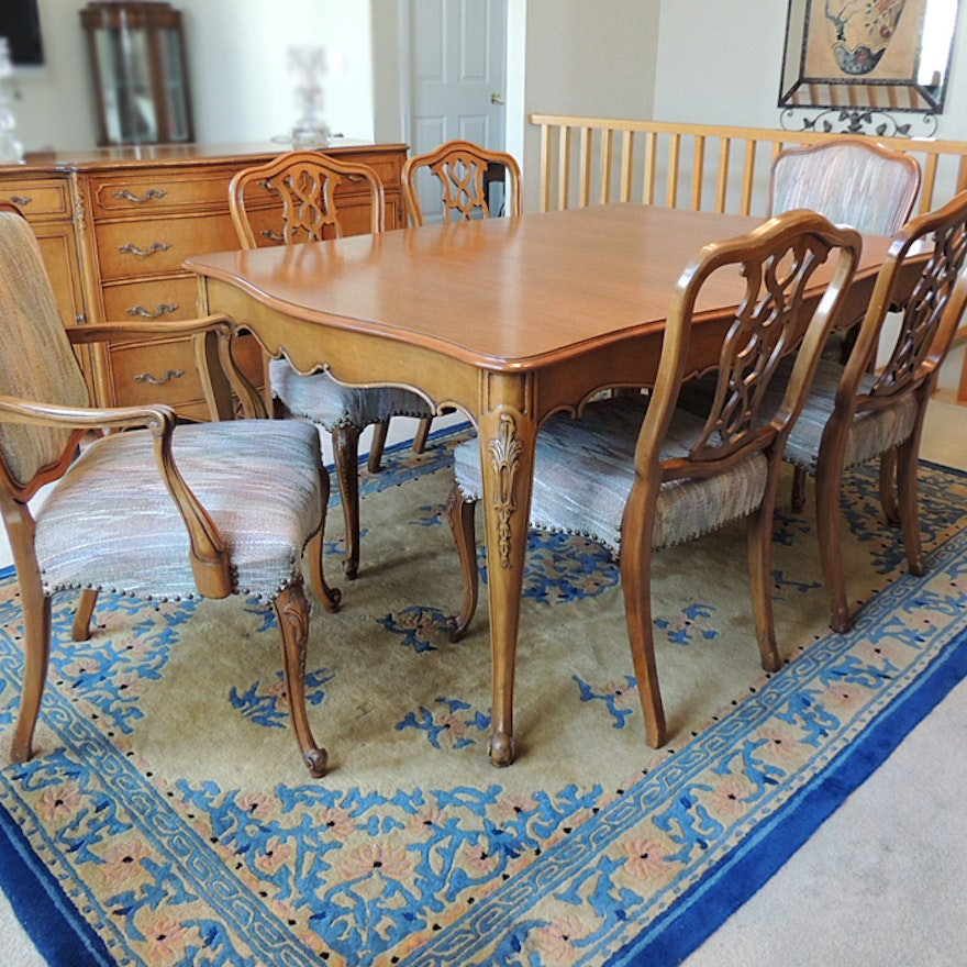 Weiman french provincial dining table and six chairs ebth weiman french provincial dining table and six chairs workwithnaturefo