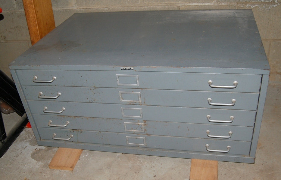 Vintage Lyon Five Drawer Blueprint/Map Filing Cabinet ...