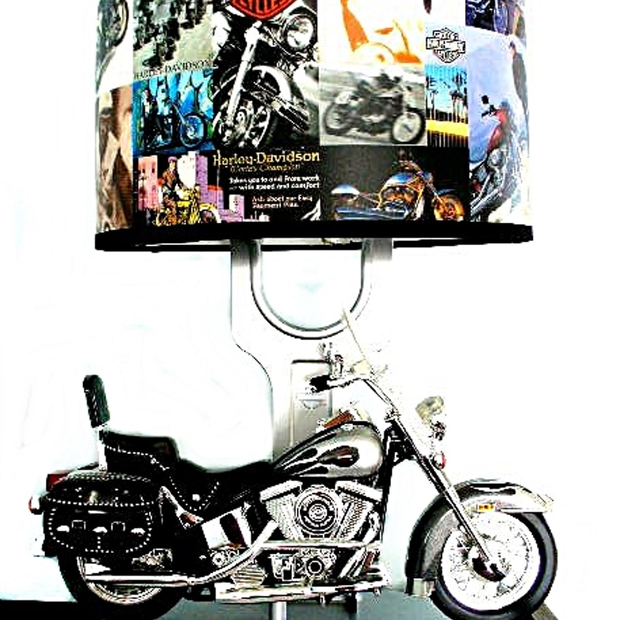 Harley Davidson Table Lamp W/ Model Motorcycle, Sound