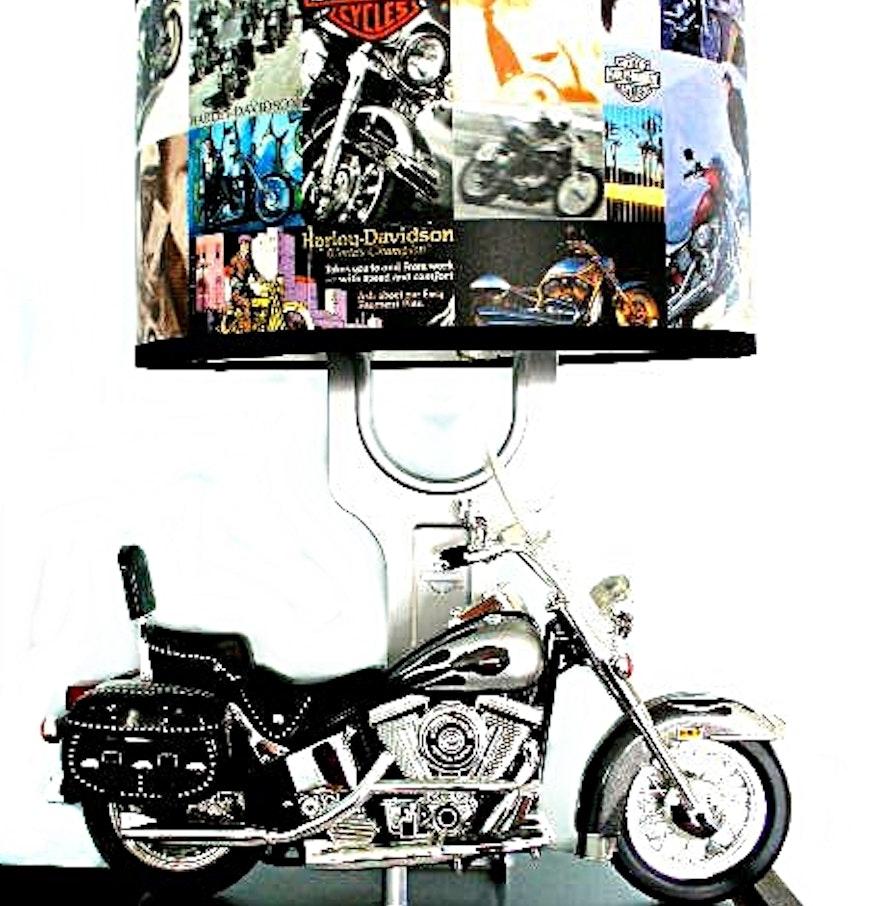 Harley Davidson Table Lamp w/ Model Motorcycle, Sound, Nightlight & Harley  Shade ... - Harley Davidson Table Lamp W/ Model Motorcycle, Sound, Nightlight
