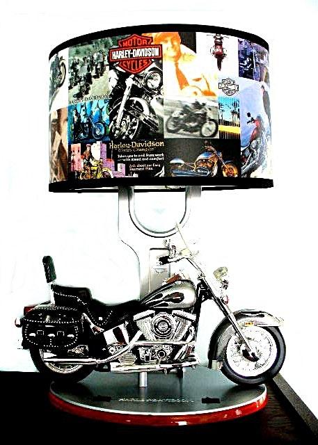 Great Harley Davidson Table Lamp W/ Model Motorcycle, Sound, Nightlight U0026 Harley  Shade ...