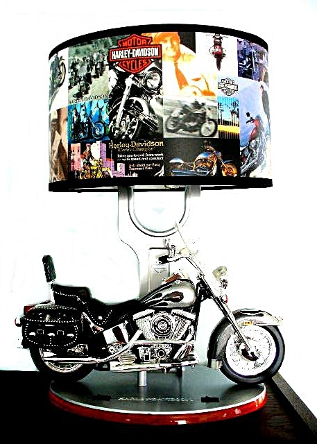 Harley Davidson Table Lamp W/ Model Motorcycle, Sound, Nightlight U0026 Harley  Shade ...