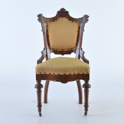 Walnut and Burl Victorian Revival Ladies Chair - Vintage Chairs, Antique Chairs And Retro Chairs Auction In East End