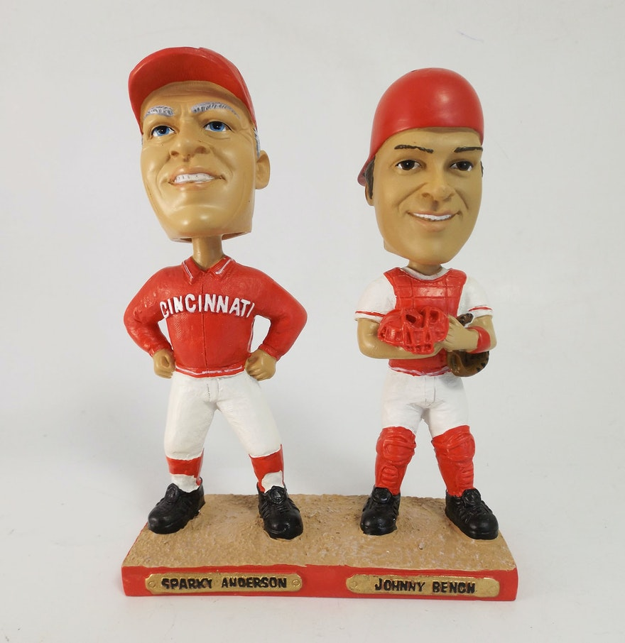Cincinnati Reds Bobbleheads Sparky Anderson And Johnny Bench Ebth