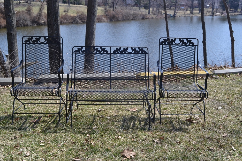 Black Wrought Iron Glider And Two Rocking Chairs ...