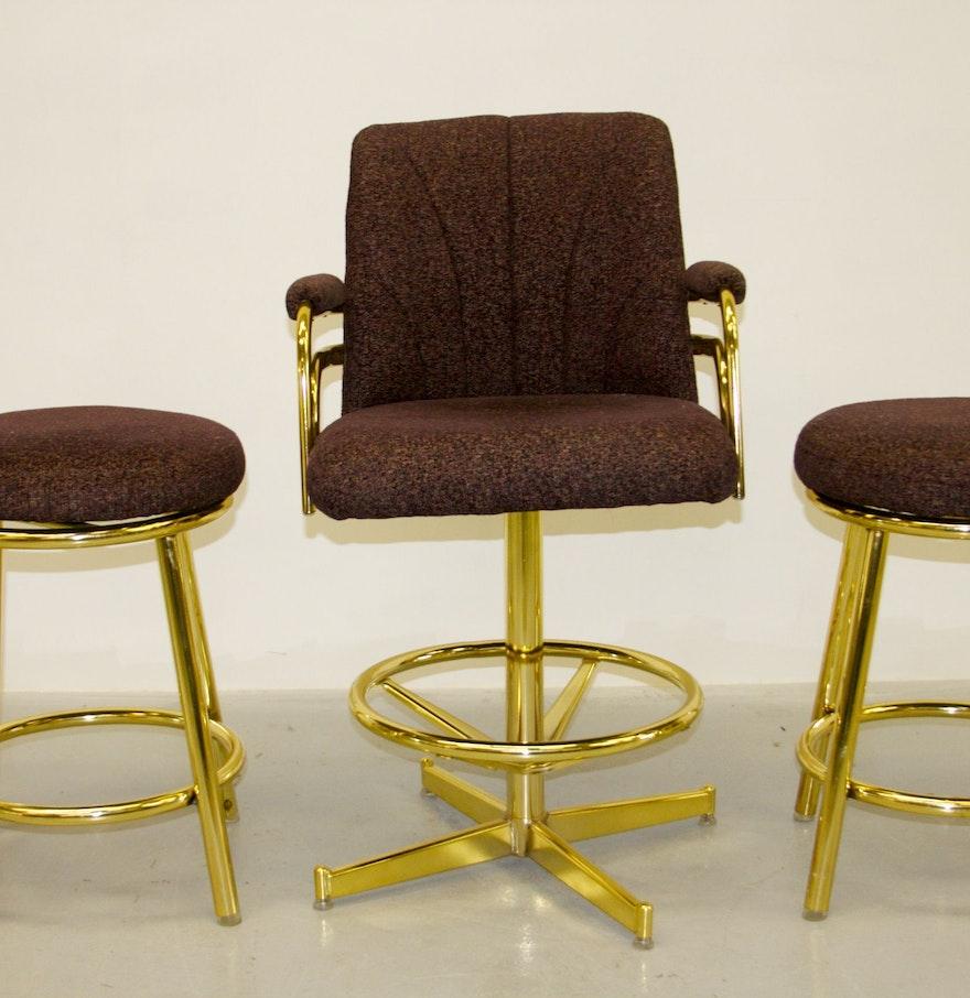 Two Chromcraft Bar Stools And A Captain's Chair : EBTH