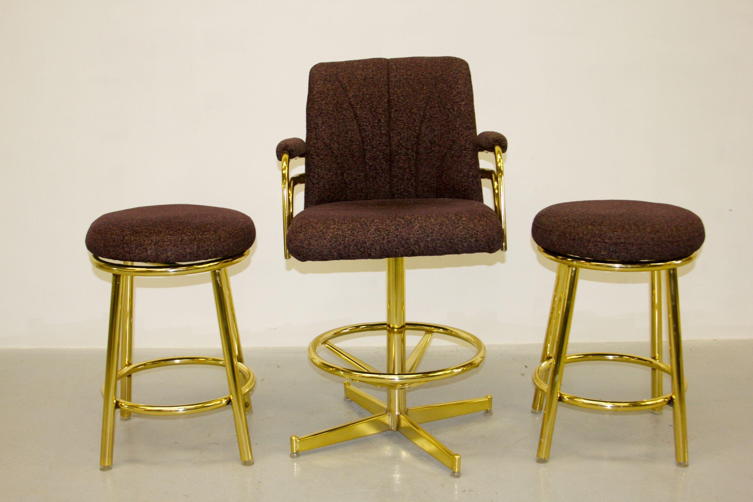 Two Chromcraft Bar Stools And A Captainu0027s Chair ...