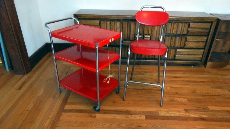 Retro Red Stool And Electric Kitchen Utility Cart : EBTH