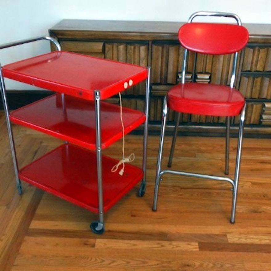 Enjoyable Retro Red Stool And Electric Kitchen Utility Cart Gmtry Best Dining Table And Chair Ideas Images Gmtryco