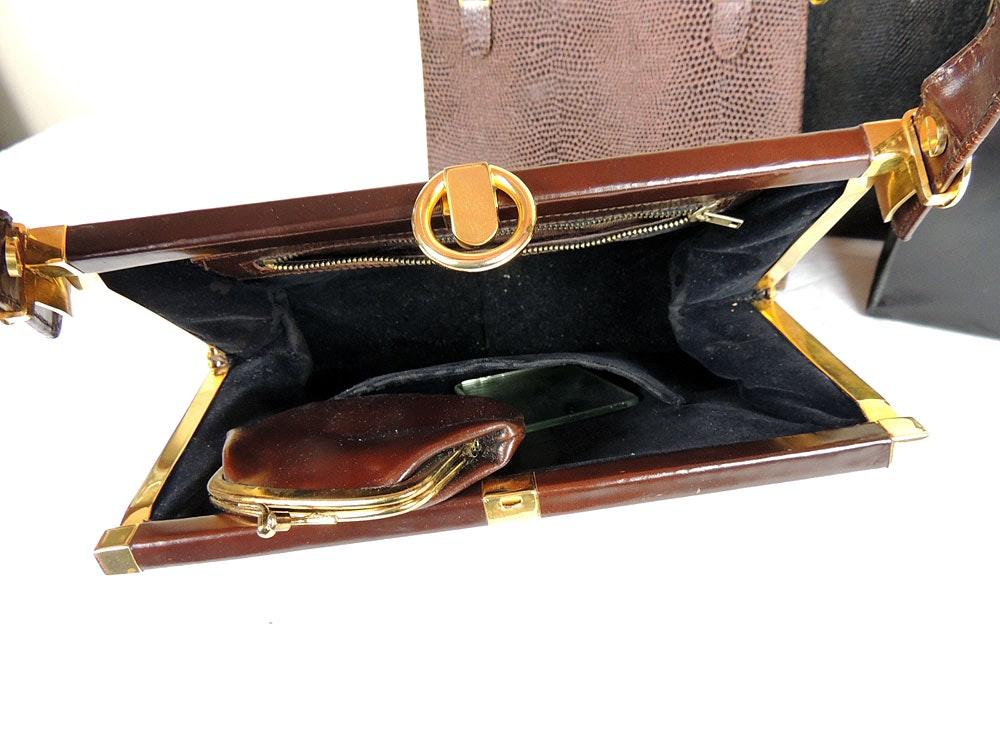 Vintage Leather Reptile Skin Purses Ebth